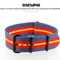 Racing Stripes Blue Red Yellow NATO G10 Military Nylon Strap (PVD)
