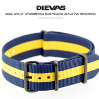 Regimental Blue Yellow NATO G10 Military Nylon Strap (PVD)