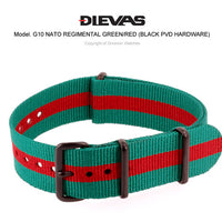 Regimental Green Red NATO G10 Military Nylon# Strap (PVD)