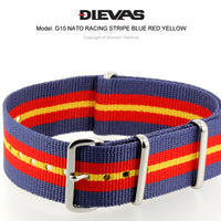 Racing Stripes Blue Red Yellow NATO G10 Military Nylon Strap