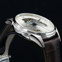 Jazzmaster Open Heart Auto Silver - Leather Ref. H32705521