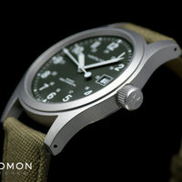 Khaki Field Mechanical Officer Handwinding Green 38 Ref. H69439363