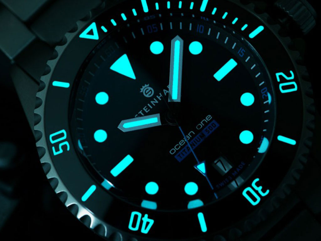 The dial of Steinhart diver