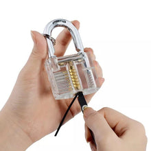 Load image into Gallery viewer, Transparent Practice Padlock with 12pcs Unlocking Lock Picks Set