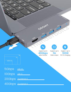 ODOMY USB C Hub 8 in 1 Type C Hub Adapter with Thunderbolt3