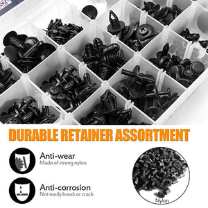Jetcloudlive Replacement Nylon Bumper Push Fasteners Rivet Clips Expansion Screws Kit with Fastener Remover