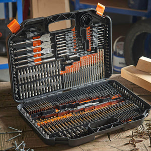 246-Piece Drill and Drive Bit Set with Titanium Coated HSS Bits and Storage Case