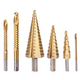 6 Pack HSS Titanium Coated Step Drill Bit Set