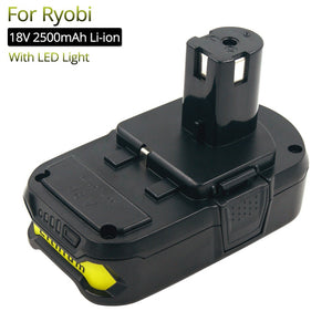 Cordless Drills Replacement 18V Battery 2500mAh Lithium for Ryobi Power Tools RB18L25 P102 P104 P105 P108 Rechargeable Battery
