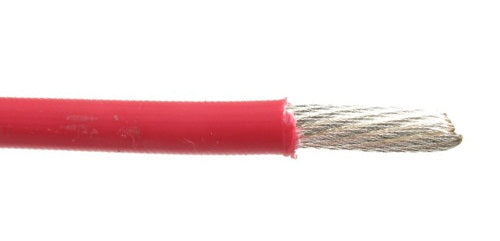 M22759/11-22-2 22 AWG Red Silver Plated Copper Conductor Extruded PTFE Cable