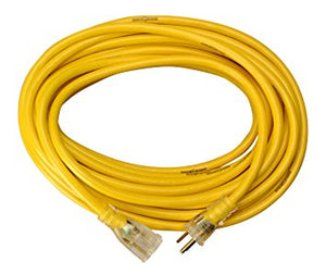 10 AWG 3 CONDUCTOR SJTW YELLOW HEAVY DUTY EXTENSION CORD CABLE
