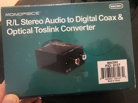 Analog Stereo Audio to Digital Coax & Optical Toslink Converter
