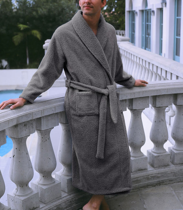 Plush Robe in Grey for men_color-Charcoal