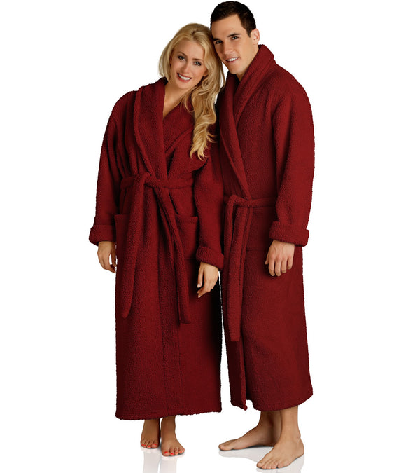 Plush Robes in Red for couples_color-Cranberry
