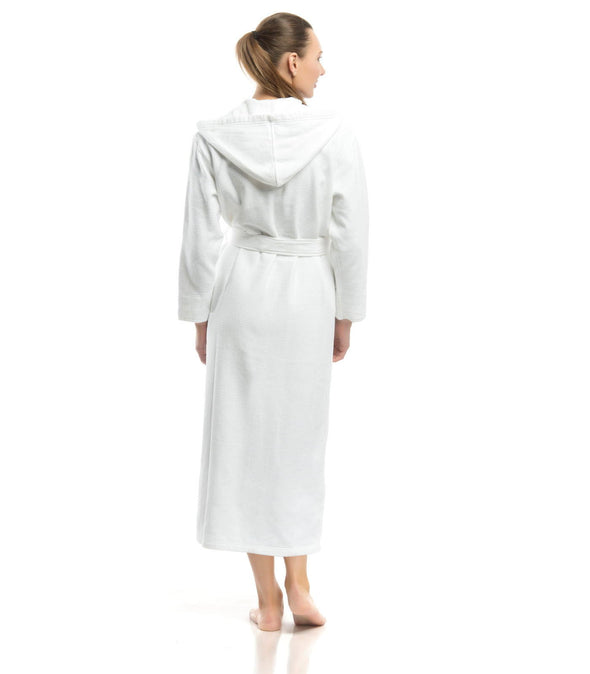 Plush Dream Hooded Robe for women back view_color-White