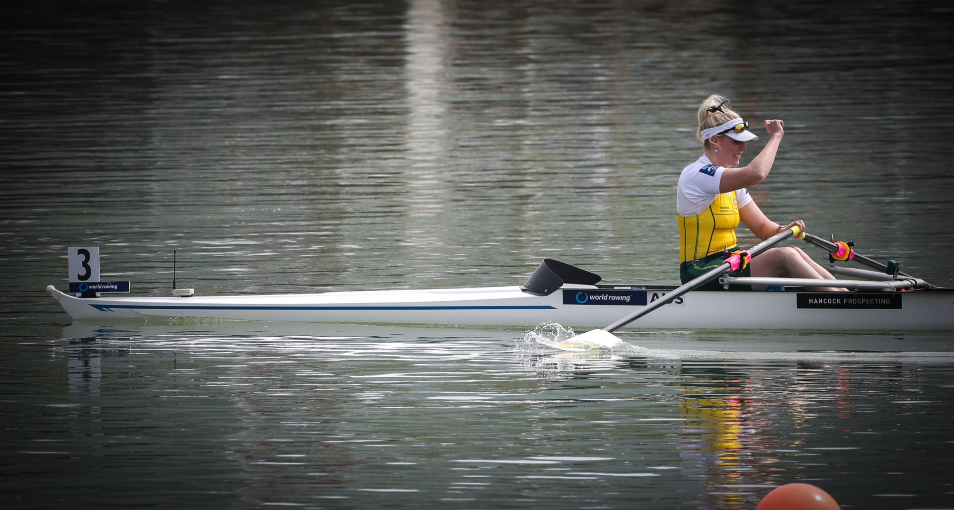 Fist Pump for First - Kathryn Ross - - Copyright Rowing Australia