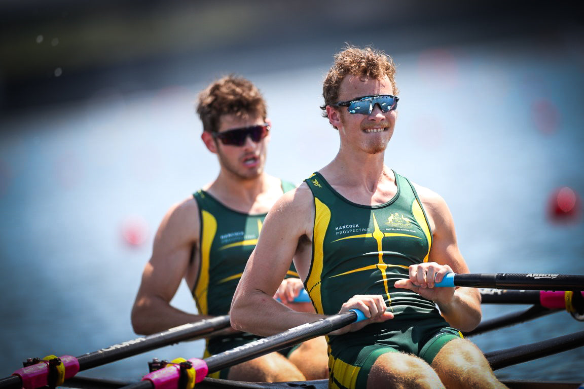 Harrison Fox and Hamish Henriques at the start - Copyright Rowing Australia-Junior-World-Champions-Mens-Double-Scull