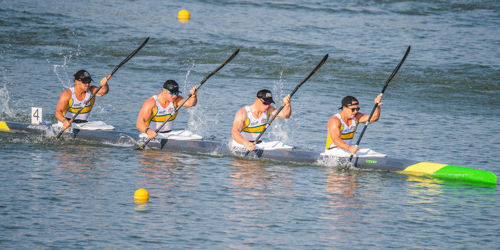 Lachlan Tame, Tom Green, Jackson Collins and Matt Goble, Australia Mens K4 500mtr  International Canoe Federation World Championships, Szeged, Hungary. Saturday 24 August 2019  © Copyright photo Steve McArthur / Paddle Australia