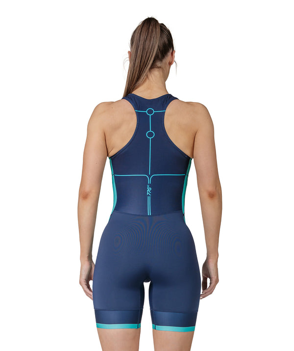 Women's Motion 2.0 Performance Rowing Suit - Navy/Capri - 776BC