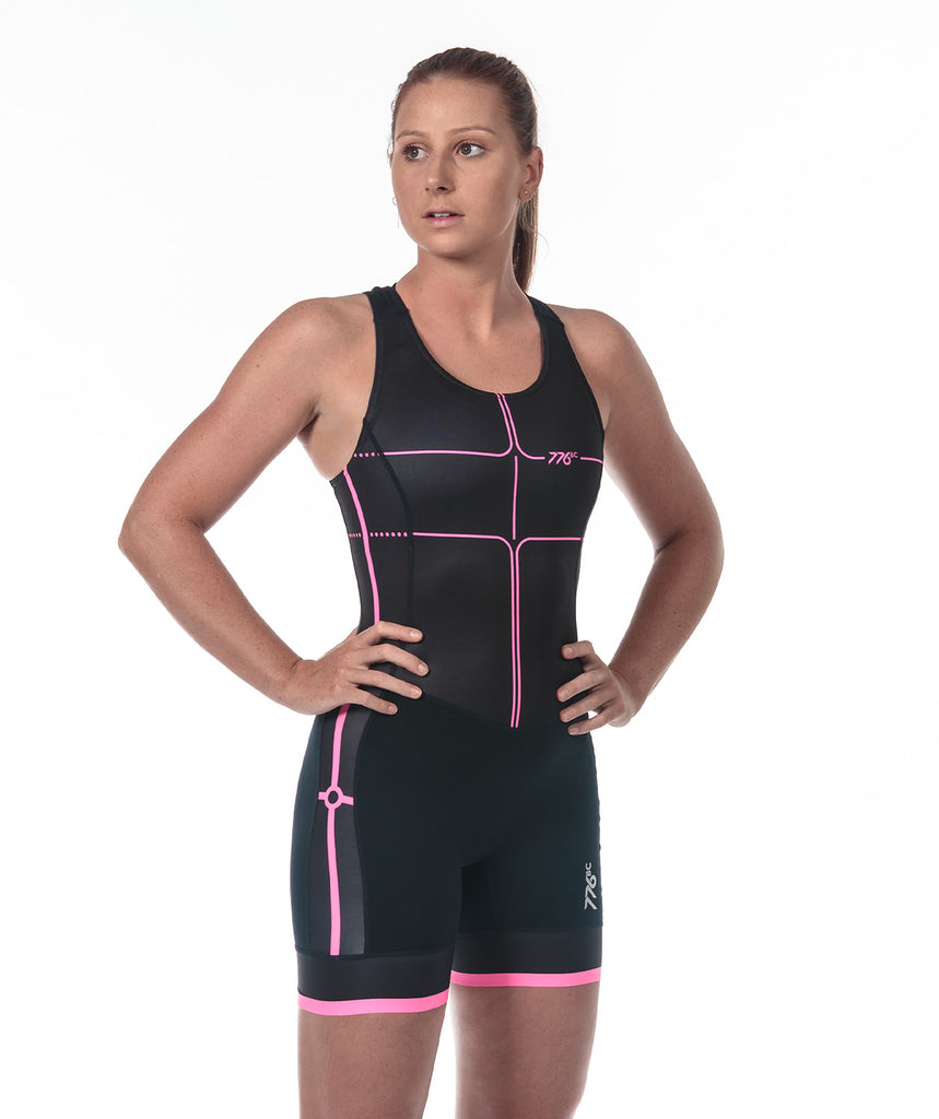 Women's Motion 2.0 Performance Rowing Suit - Black/Pink