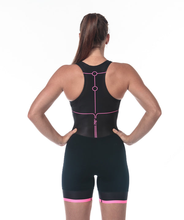 Women's Motion 2.0 Performance Rowing Suit - Black/Pink - 776BC