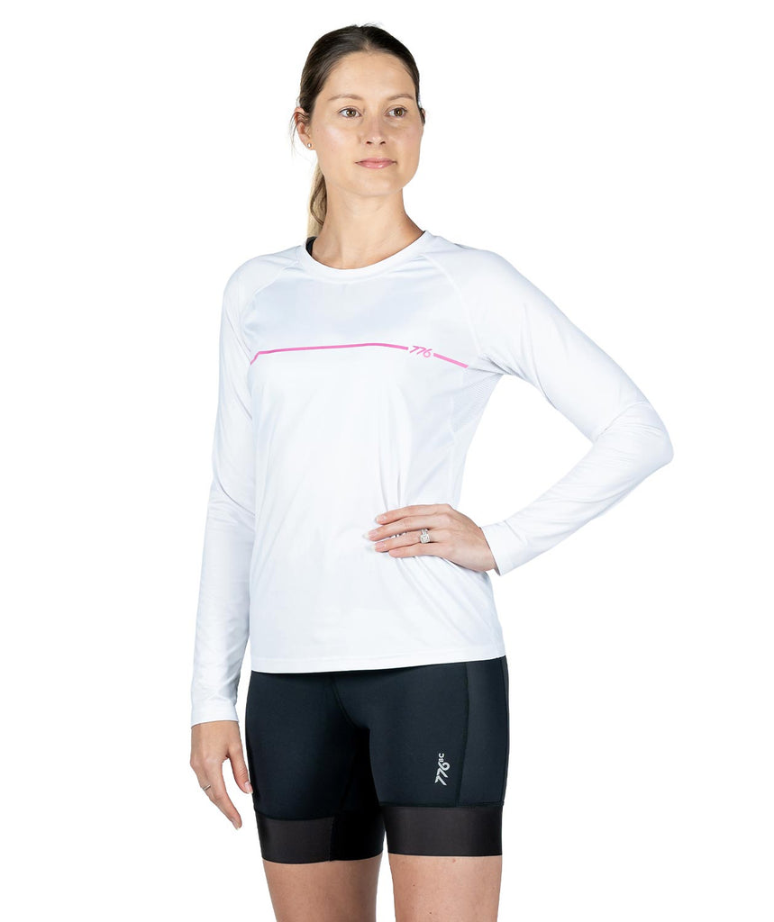 Women's LS Training T-Shirt - White/Pastel Pink