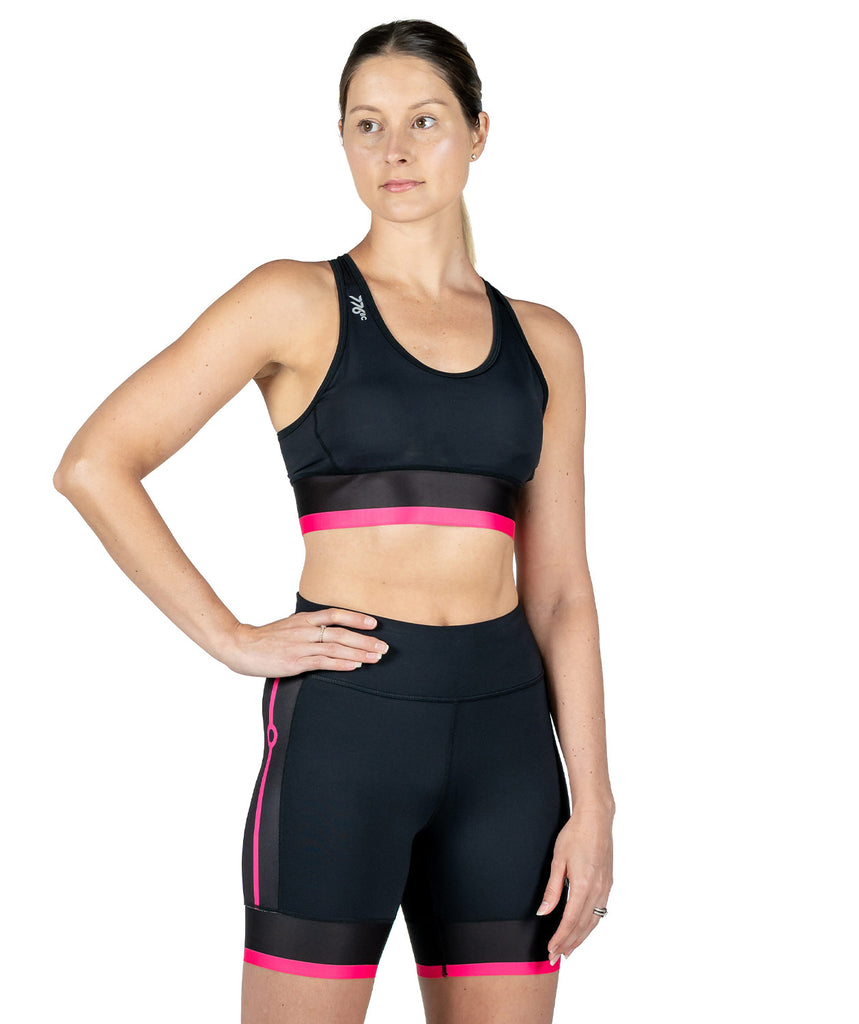 Women's Pro Crop Top - Black/Pink