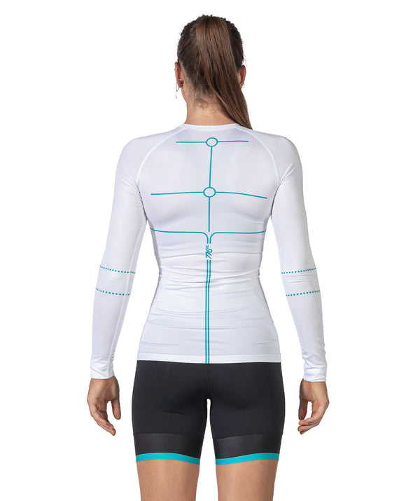 Women's Motion 2.0 LS Base Layer - White/Capri