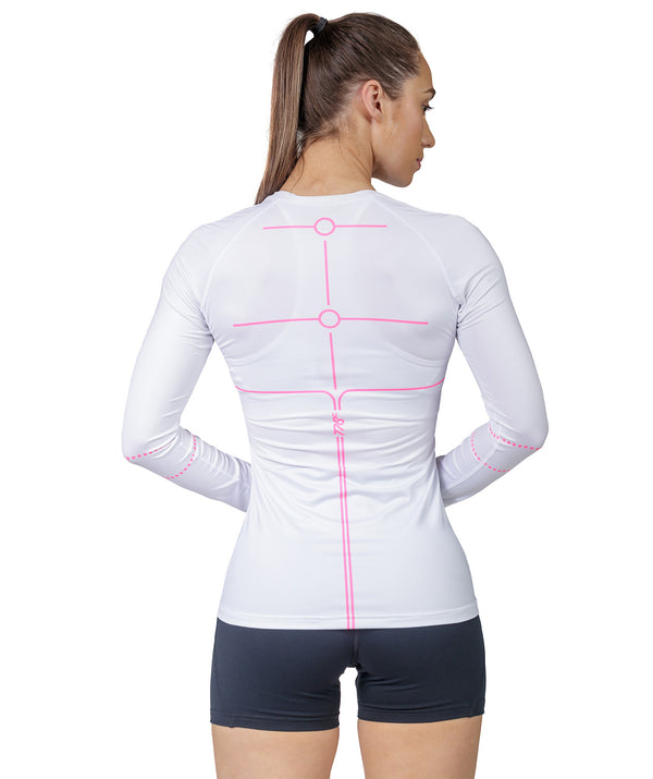 Women's Motion 2.0 LS Base Layer - White/Pink