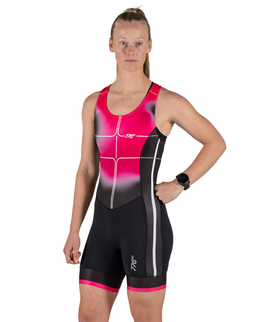 Women's Motion 2.0 Performance Rowing Suit - Black/Pink Spray