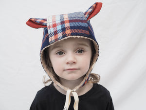 red, orange and blue tartin, warm winter bonnet with cute animal ears