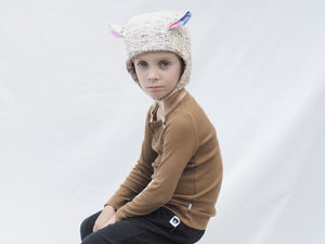 pink speckled warm winter kids hat, lined in the warmest, fluffiest lining.