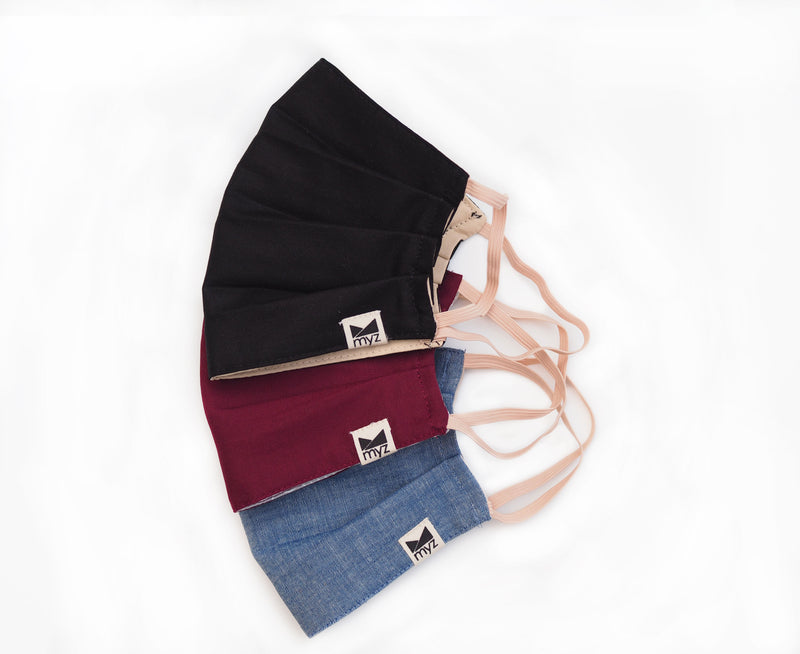 black, burgundy and chambray triple layer reusable face masks