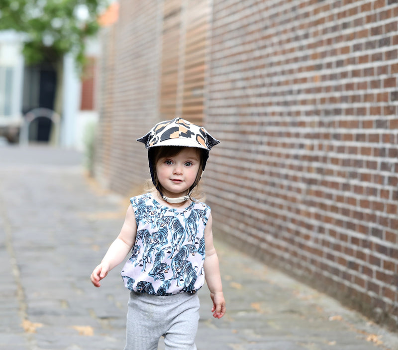 trendy childrens hat mille style in leopard print