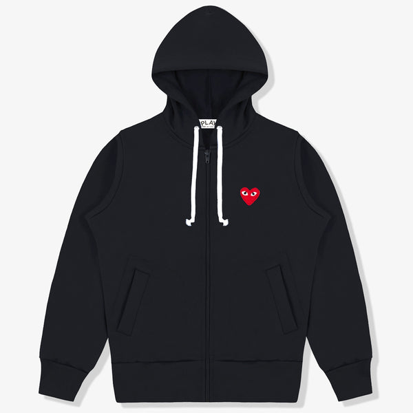 Zip-Up Hoodie Single Red Heart (Black)