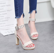 PU Metal Decorative High Heel Platform Sandals - Shop Shiningbabe - Womens Fashion Online Shopping Offering Huge Discounts on Shoes - Heels, Sandals, Boots, Slippers; Clothing - Tops, Dresses, Jumpsuits, and More.