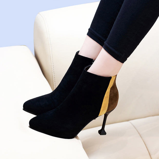 Contrast Color Stiletto Heel Pointed Booties(inner velvet) - Shop Shiningbabe - Womens Fashion Online Shopping Offering Huge Discounts on Shoes - Heels, Sandals, Boots, Slippers; Clothing - Tops, Dresses, Jumpsuits, and More.
