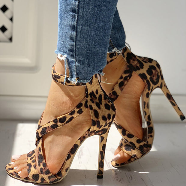 Leopard Crisscross Zipper Back Thin Heeled Sandals - Shop Shiningbabe - Womens Fashion Online Shopping Offering Huge Discounts on Shoes - Heels, Sandals, Boots, Slippers; Clothing - Tops, Dresses, Jumpsuits, and More.