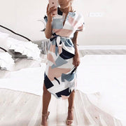 V-neck Block Print Midi Dress - Shop Shiningbabe - Womens Fashion Online Shopping Offering Huge Discounts on Shoes - Heels, Sandals, Boots, Slippers; Clothing - Tops, Dresses, Jumpsuits, and More.