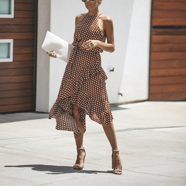Polka-dot Laced Irregular Dress - Shop Shiningbabe - Womens Fashion Online Shopping Offering Huge Discounts on Shoes - Heels, Sandals, Boots, Slippers; Clothing - Tops, Dresses, Jumpsuits, and More.