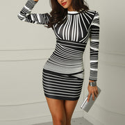 Gradient Color Striped Bodycon Dress - Shop Shiningbabe - Womens Fashion Online Shopping Offering Huge Discounts on Shoes - Heels, Sandals, Boots, Slippers; Clothing - Tops, Dresses, Jumpsuits, and More.