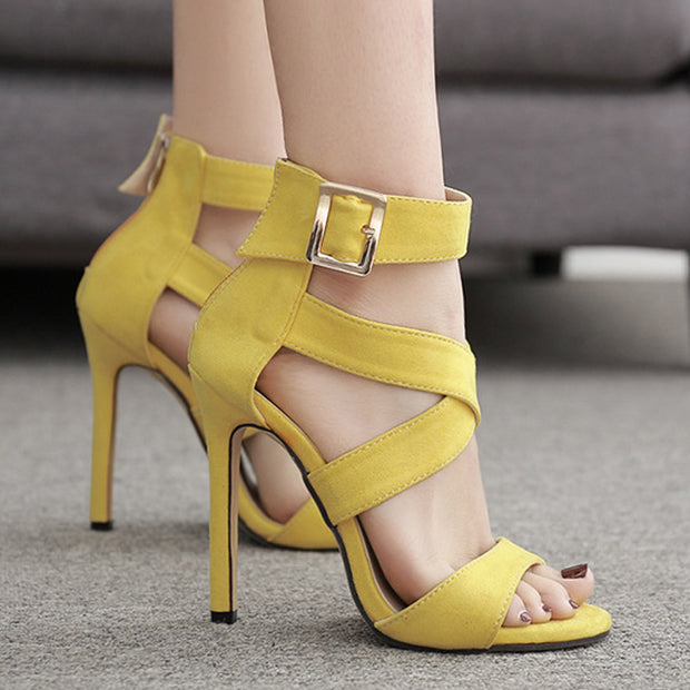 Solid Color Caged Bandage Thin Heeled Sandals - Shop Shiningbabe - Womens Fashion Online Shopping Offering Huge Discounts on Shoes - Heels, Sandals, Boots, Slippers; Clothing - Tops, Dresses, Jumpsuits, and More.