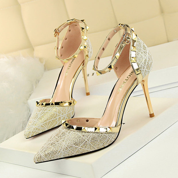 Nightclub Shallow Pointed Pierced Rivet Sandals - Shop Shiningbabe - Womens Fashion Online Shopping Offering Huge Discounts on Shoes - Heels, Sandals, Boots, Slippers; Clothing - Tops, Dresses, Jumpsuits, and More.