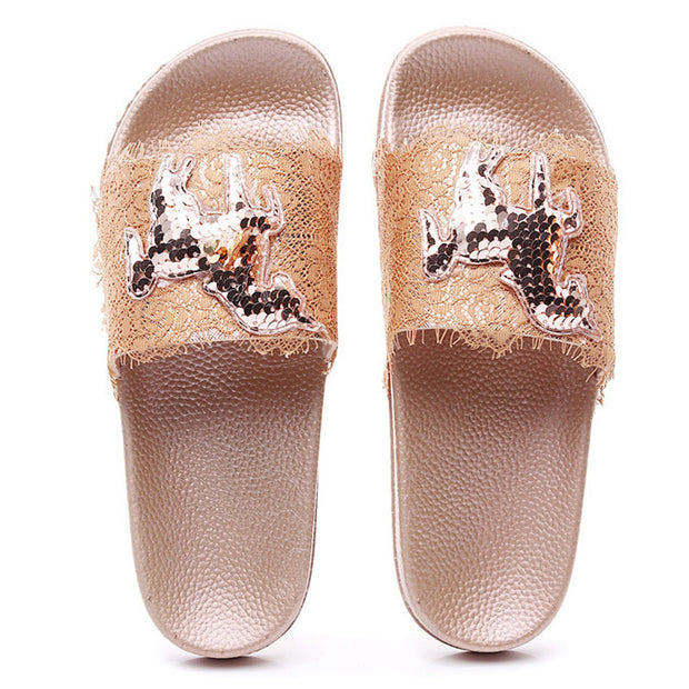 Women's Fashion Glossy Silk Craft Slippers - Shop Shiningbabe - Womens Fashion Online Shopping Offering Huge Discounts on Shoes - Heels, Sandals, Boots, Slippers; Clothing - Tops, Dresses, Jumpsuits, and More.
