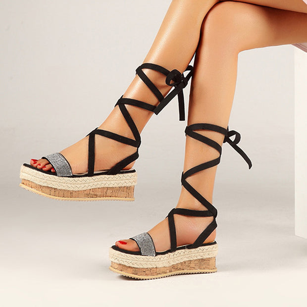 Open Toe Bandage Platform Wedge Sandals - Shop Shiningbabe - Womens Fashion Online Shopping Offering Huge Discounts on Shoes - Heels, Sandals, Boots, Slippers; Clothing - Tops, Dresses, Jumpsuits, and More.