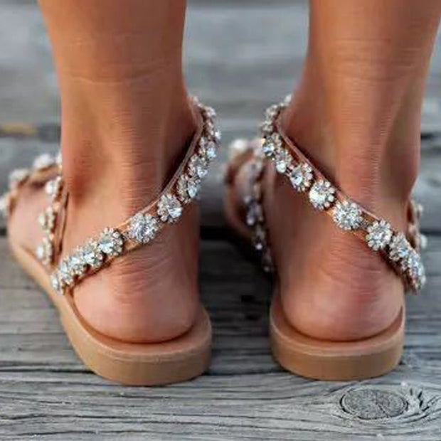 Fashion Rhinestone Toe Flat Sandals - Shop Shiningbabe - Womens Fashion Online Shopping Offering Huge Discounts on Shoes - Heels, Sandals, Boots, Slippers; Clothing - Tops, Dresses, Jumpsuits, and More.