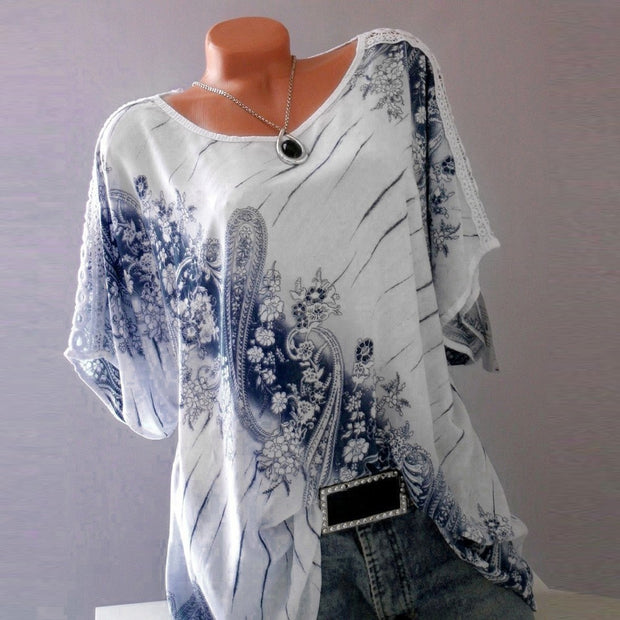 Fashion Printed V-neck Short-sleeved T-shirt - Shop Shiningbabe - Womens Fashion Online Shopping Offering Huge Discounts on Shoes - Heels, Sandals, Boots, Slippers; Clothing - Tops, Dresses, Jumpsuits, and More.