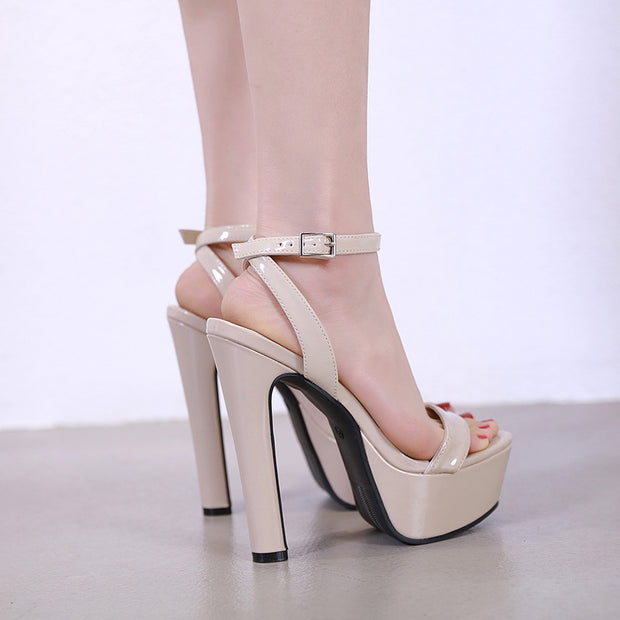 PU Waterproof Platform High Heel Sandals - Shop Shiningbabe - Womens Fashion Online Shopping Offering Huge Discounts on Shoes - Heels, Sandals, Boots, Slippers; Clothing - Tops, Dresses, Jumpsuits, and More.