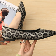 Pointed Leopard-Print Flats - Shop Shiningbabe - Womens Fashion Online Shopping Offering Huge Discounts on Shoes - Heels, Sandals, Boots, Slippers; Clothing - Tops, Dresses, Jumpsuits, and More.