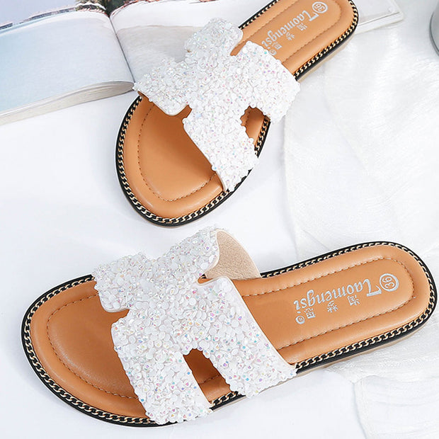 Top Grade Sequins H-shaped Sandals - Shop Shiningbabe - Womens Fashion Online Shopping Offering Huge Discounts on Shoes - Heels, Sandals, Boots, Slippers; Clothing - Tops, Dresses, Jumpsuits, and More.